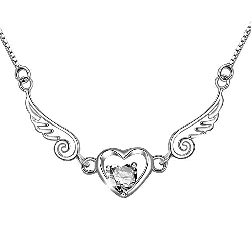 BEICHUANG Rhinestone Heart Shaped Pendant Angel Necklace for Women(Silver) by BEICHUANG