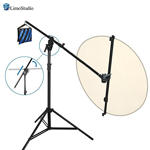 LimoStudio Swivel Head Reflector Support Holder Cross Arm, Boom Arm Stand, Reflector Hold Arm Bar, Max Reflector Holding Length 48 Inch with Light Stand Tripod, Photography Studio, AGG2074V2