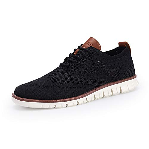 COOJOY Men's Mesh Wingtip Oxford Breathable Walking Shoes Casual Lightweight Lace up Sneaker, Black 8.5