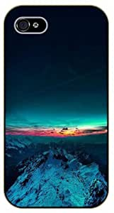 For Apple Iphone 4/4S Case Cover Mountain and sunset - black plastic case / Space, star, stars