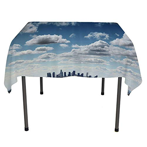 Apartment Decor Collection Party Supplies Tablecloth Downtown Los Angeles Skyline Under Summer Sky with Scenic Fluffy Clouds Picture Blue White Gray Kitchen Items Spring/Summer/Party/Picnic 50 by 80 -