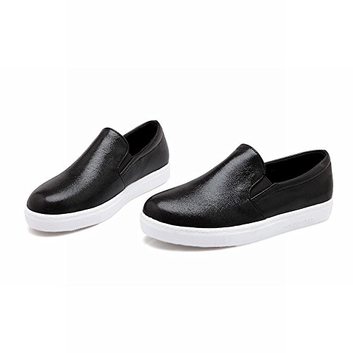 Carolbar Moda Para Mujer Shiny Cuff Street Casual Zapatos De Confort Simple Con Cordones Negro