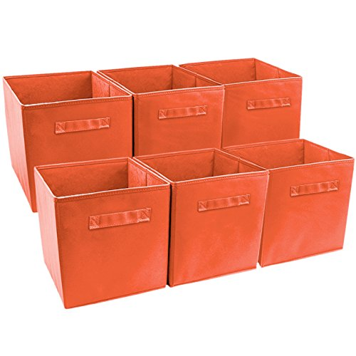 Fabric Dvd (Sorbus Foldable Storage Cube Basket Bin (6 Pack, Orange))
