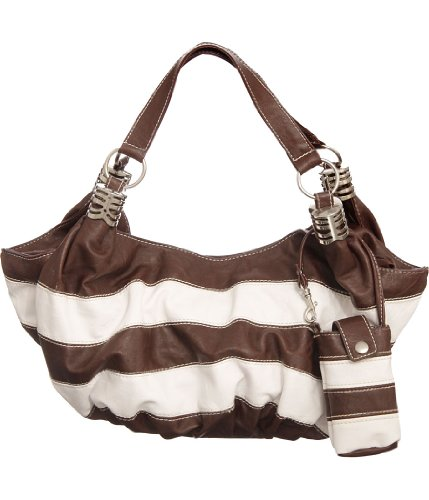 Natie Brown Striped Slouchy Hobo Bag with Matching Cell Phone Holder