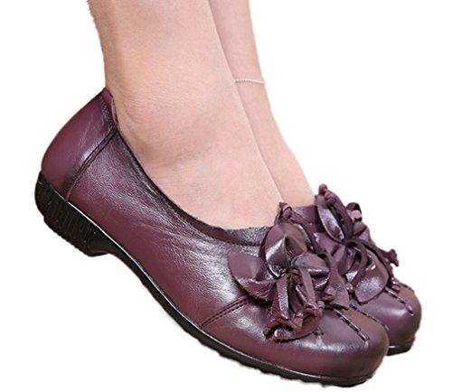 Soojun Mujeres Leather Mocasines Zapatos Planos Slip-ons Con Flor Darkpurple