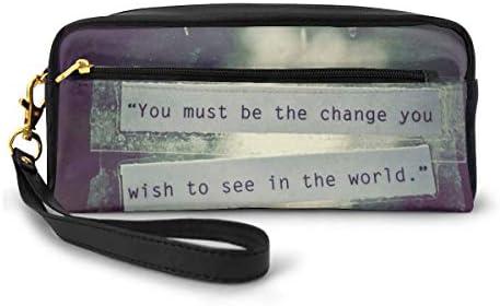長財布 ポーチ あなたが世界で見たいと思う変化 レザーバッグ 化粧バッグ おしゃれ かわいい 小型バッグ ペンケース クラッチポーチ メイクポーチ