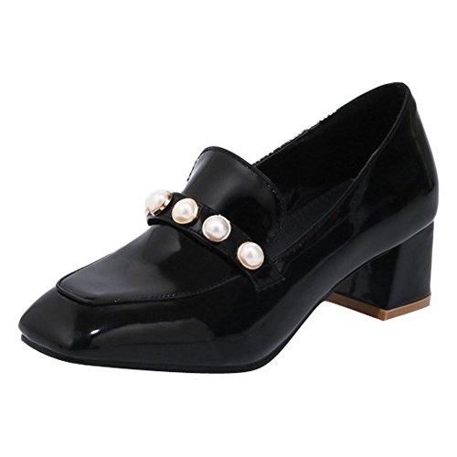 MissSaSa Damen Blockabsatz künstliche Perlen Pumps Schwarz