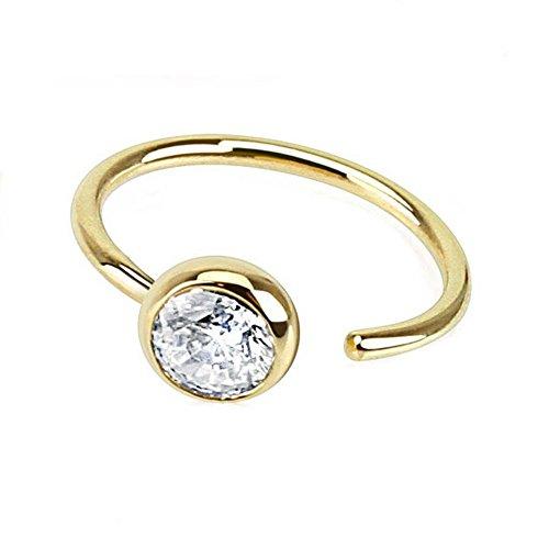 - Cubic Zirconia 14K Yellow Gold Hoop Nose Ring