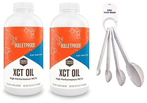 Bulletproof XCT Oil 16 oz (Pack of 2) With Convenient Measuring Spoon Set