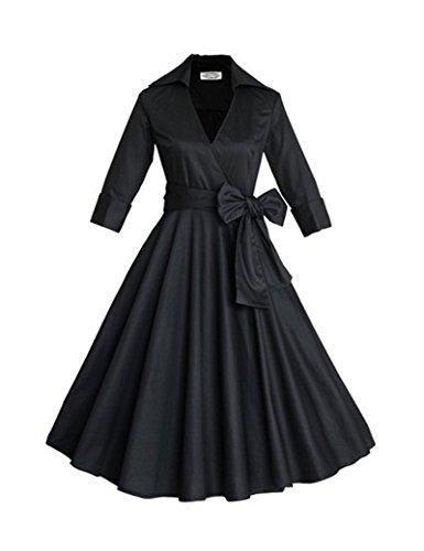 Vestido de fiesta de Swing Vintage de la década de 1940 de las mujeres con Bowknot Black