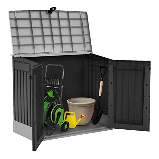 Keter Store It Out Midi Outdoor Plastic Storage Grey and Black Doors Open