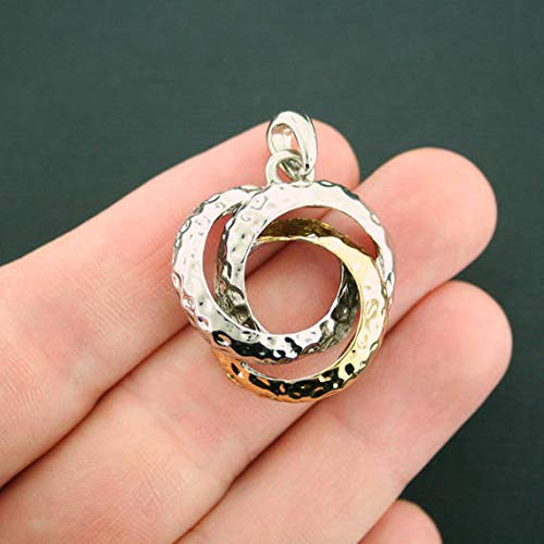 - Linked Circles Charm Antique Silver and Gold Tone 3D Hammered Finish
