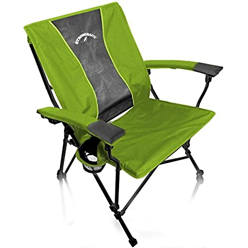 STRONGBACK Elite Heavy Duty Folding Camp Chair With Lumbar Support Lime  Green