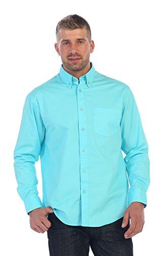 Gioberti Mens Long Sleeve Casual Twill Contrast Shirt, Aqua, X Large ()