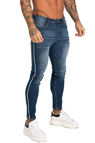 GINGTTO Men's Repaired Skinny Stretch Fashion Jeans 34 Dark Blue Denim ()