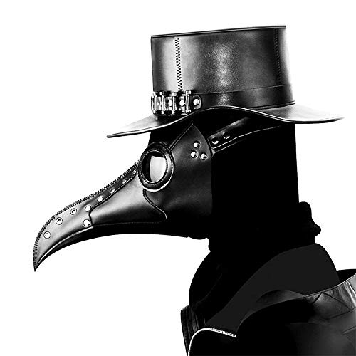 PAWACA Bird Beak Mask, Plague Doctor Bird Head Mask with Long Nose, Gothic Steampunk Leather Mask for Men and Women Adult, Costume Props for Masquerade Halloween Christmas and New Year (Black)