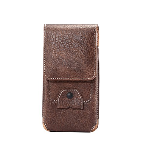 Yiakeng Hook up Premium Leather Pouch Case Holster Belt Loops Carrying Cover for Apple iPhone, Samsung, Moto, LG, ZTE, BLU,Android All Smartphone (Brown) - Iphone Style Phones