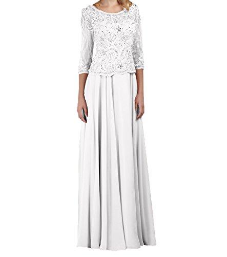 Langarm Rock Ballkleider Weiß Damen A Brautmutterkleider Festlichkleider Abendkleider Charmant Rosa Linie Spitze Langes wRPHYRIfq