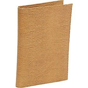 Budd Leather Lizard Print Calf Passport Case, Large, Golden - Passport Case Large Calf