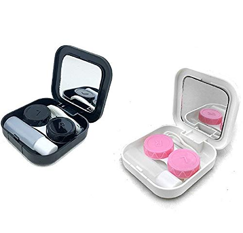 Contact Lens Cases Kits, Portable Travel Used Contact Lenses Kit, Mirror, Tweezers, Storage Flask, Double Cassette, Wear Stick, 2 Sets (Black & White)