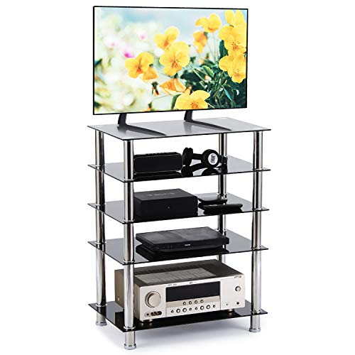 (Rfiver 5-Tier Black Glass Audio Video Tower for TV, Xbox, Gaming Consoles, Media Component,Streaming Devices, HF1002)
