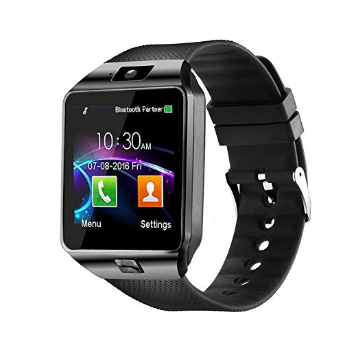 DZ09 Bluetooth Smart Watch - WJPILIS Smart Wrist Watch Smartwatch Phone Fitness Tracker with SIM Card Slot Camera Pedometer Compatible iOS iPhone Android Samsung Phones for Women Kids Men (Black)