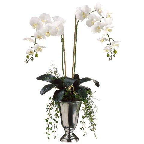 """37""""Hx17""""W Phalaenopsis Orchid Silk Flower Arrangement -White"""