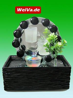 Feng Shui Keramik Glas Zimmerbrunnen mit LED Beleuchtung LR39514