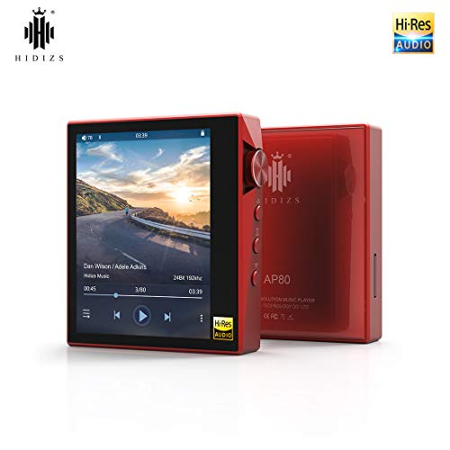 HIDIZS AP80 Hi-Fi Bluetooth MP3 Player, Portable High Resolution Digital Audio Player with LDAC/aptX/DSD, Lossless Music Player with Full Touch Screen (Red)