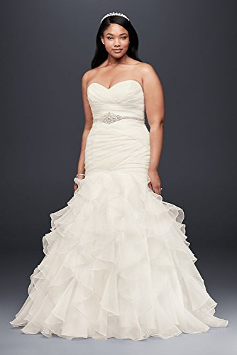 (Ruffled Organza Plus Size Mermaid Wedding Dress Style 9WG3832, Ivory, 28W)