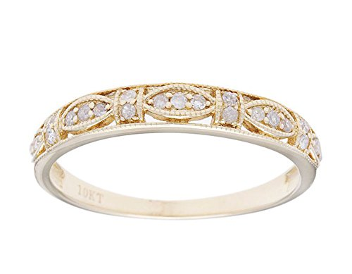 - 10k Yellow Gold Vintage Style Diamond Anniversary Ring (1/6 cttw, I-J Color, I2-I3 Clarity)