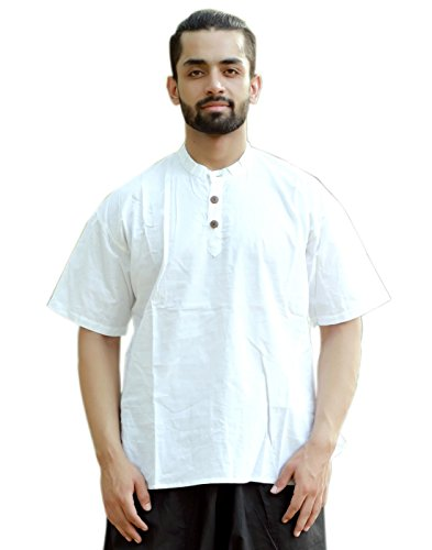 Sarjana Handicrafts Men's Cotton Solid Shirt Short Casual Kurta ()