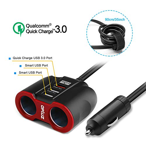 QC3.0 Car Charger with Extension Cable, Multi Car Charger Cigarette Lighter, 3 USB (QC3.0x1+Smart Socketx2)+2 Socket Car Splitter+90mm Cable for GPS/iPhone/Samsung Cell Phone