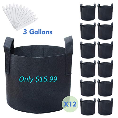 PHYEX 12-Pack 3 Gallon Nonwoven Grow Bags, Aeration Fabric Pots with Durable Handles, Come with 12 Pcs Plant Labels