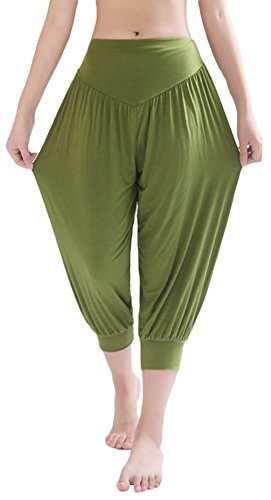 AvaCostume Modal Cotton Soft Yoga Sports Dance Harem Capri Pants, 3XL, ArmyGreen for $<!--$11.99-->