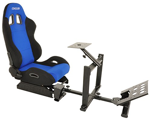 41wyWXowvKL - Conquer-Racing-Simulator-Cockpit-Driving-Seat-Reclinable-with-Gear-Shifter-Mount