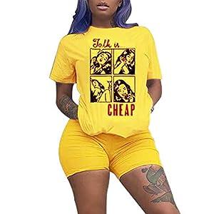 KIRJAUDU Women Casual 2 Piece Outfit Short Sleeve Cartoon Print T-Shirts Bodycon Shorts Set Jumpsuit Rompers