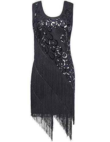 PrettyGuide Mujeres 1920 Lentejuela Deco Patrón Del Pavo Real Vestido de coctail Flapper Negro puro
