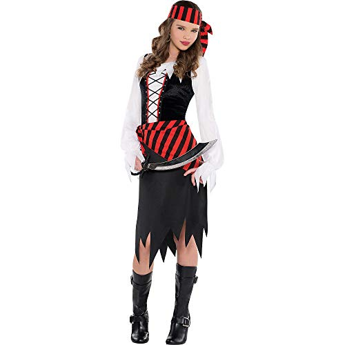 Suit Yourself Buccaneer Beauty Pirate Costume for Girls, Size Extra-Large, Includes a Dress, a Headscarf, and a Sash -