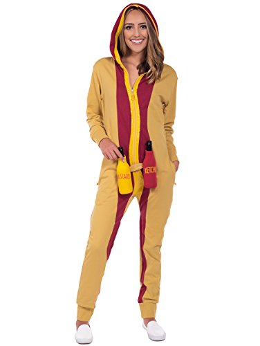 Women's Hot Dog Halloween Costume - Hot Dog Jumpsuit Onesie: Large
