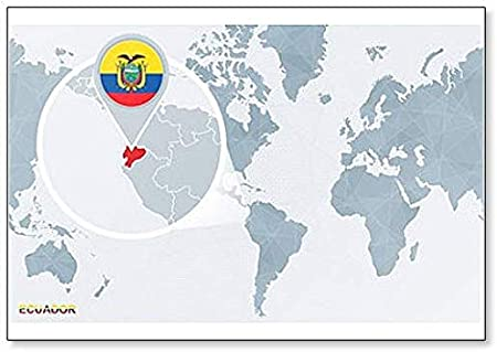 Ecuador Mapa Del Mundo.Iman Para Nevera Con Diseno De Mapa Del Mundo Centrado En Ecuador Amazon Es Hogar