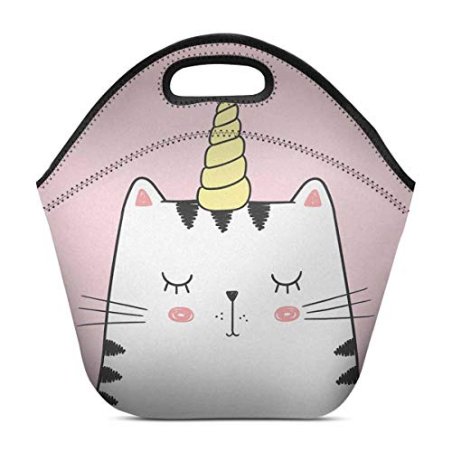 InterestPrint Cute Anime Cat Kitten with Unicorn Horn Pink Caticorn Lunch Bag Waterproof Neoprene Gourmet Insulating Lunch Tote Portable Lunchbox Handbag 11.93