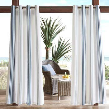 (Navy Curtains for Door, Modern Contemporary Fabric Light Window Curtain for Outdoor, Newport Striped Modern Window Curtains, 54X84, 1-Panel Pack)