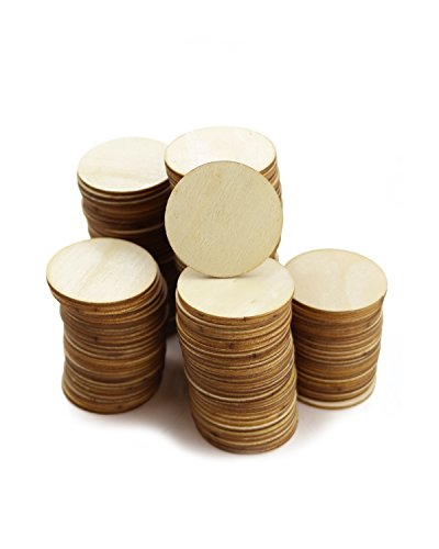 PRALB 150PCS Round Unfinished 1.57'' Wood Cutout Circles Chips for Arts & Crafts Projects, Board Game Pieces, Ornaments for Book Signing Sunday School Birthday Game Boards. by PRALB