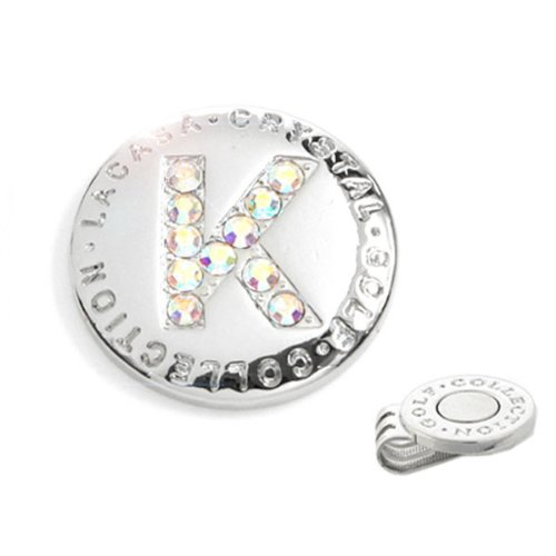 Elixir Golf Crystal Golf Ball Marker with Hat Clip, Initial K