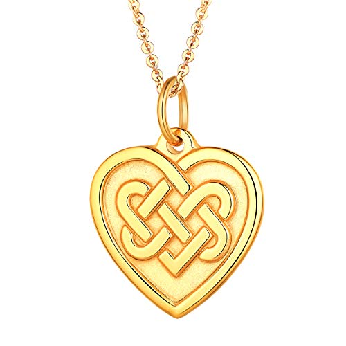 FOCALOOK Stainless Steel Good Luck Celtic Knot Heart Pendant Necklace for Women ()