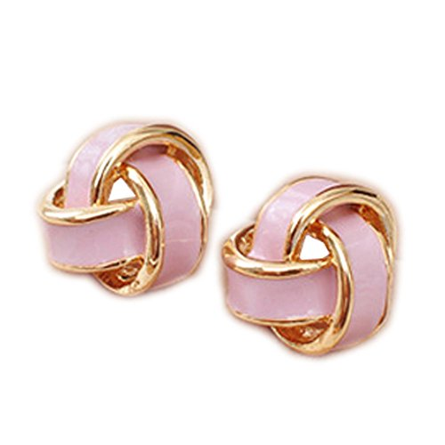 Latigerf Fashion Jewelry Gold Plated Women's Flower Screw Back Non-Pierced Clip on Earring Clips for non pierced ears for Girl Pink