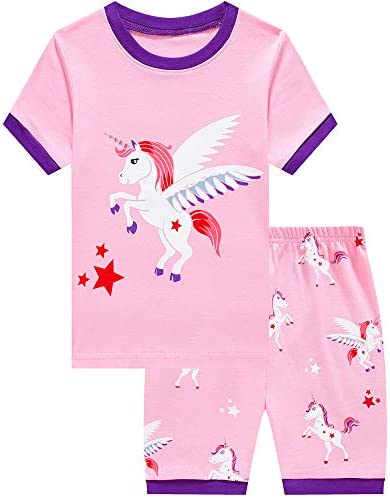 CM-Kid Girls Pyjamas Unicorn Toddler Clothes Children Short Pjs Set Giraffe Short Sleeve 100/% Cotton Sleepwear Top /& Pants for Age 1-7 Years