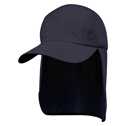 Juniper Microfiber Cap with Long Flap, One Size, Navy