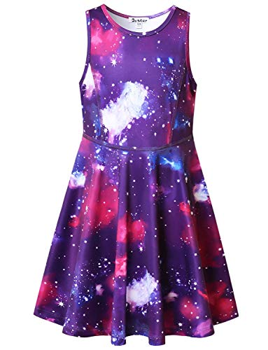 Jxstar Sleeveless Dresses for Little Girls 6 7 Kids Summer Swing Galaxy Star Clothes]()